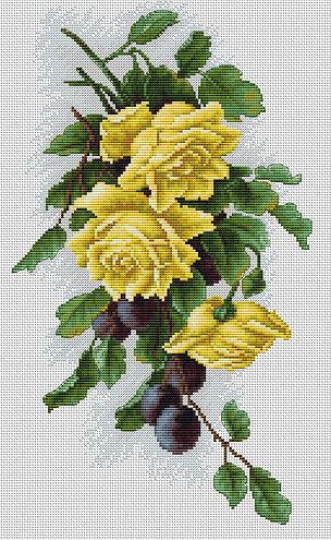 Вышивка роза и виноград