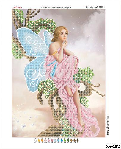 Розовая фея схема для вышивки