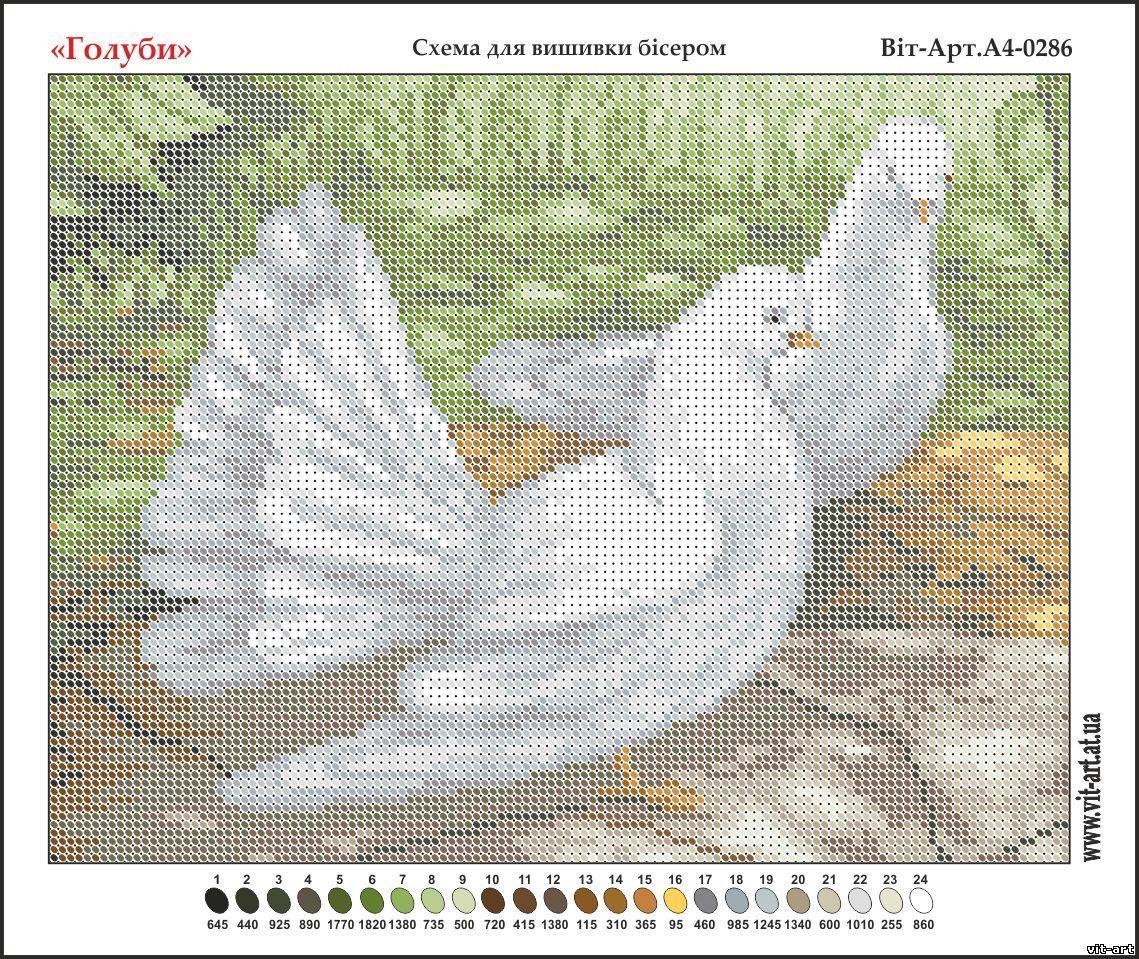 Для вышивки голубки схемы