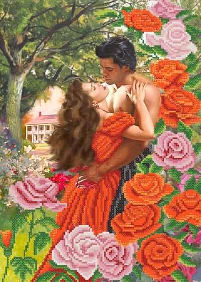 Вышивка крестом весна влюбленных