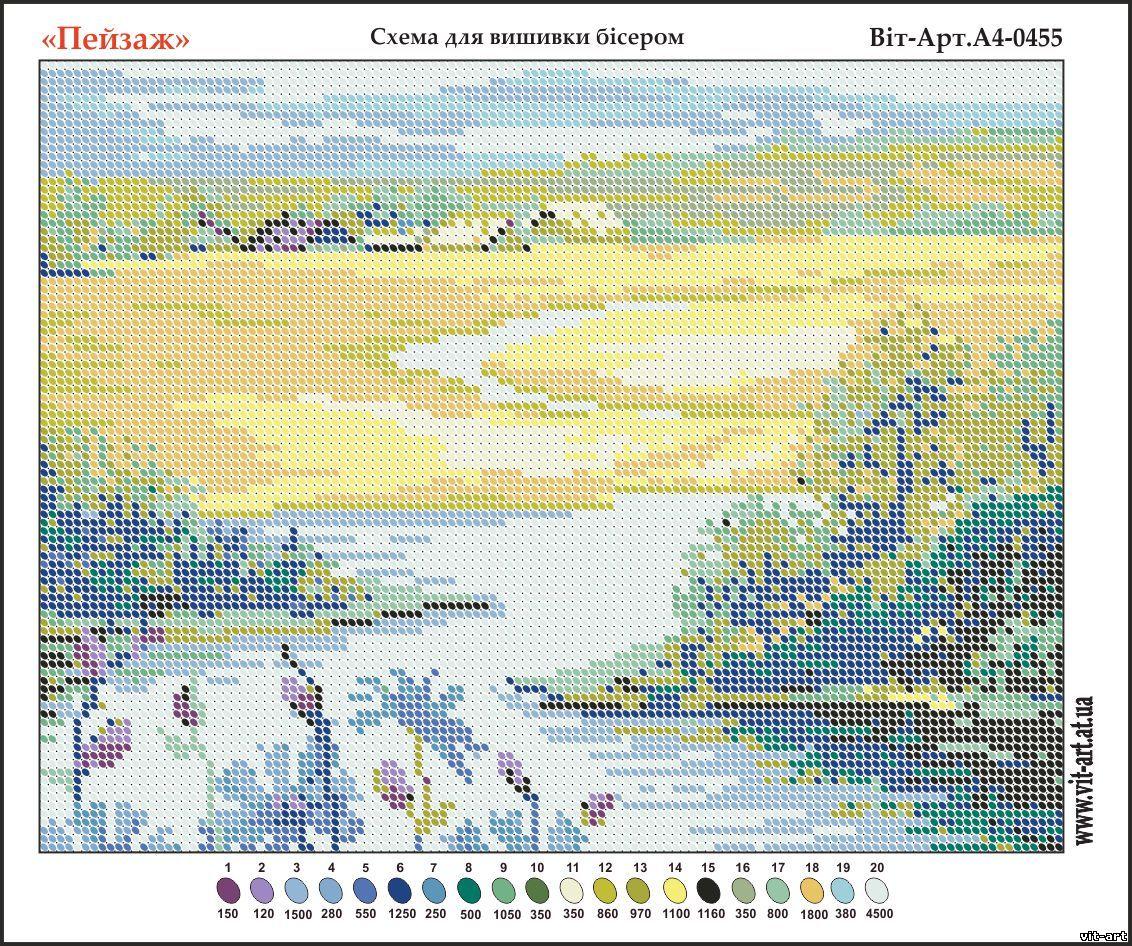 Пейзаж для вышивки гладью схема 5