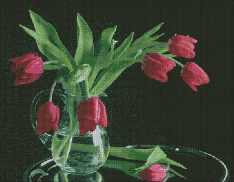 вышивка крестом ваза с тюльпанами