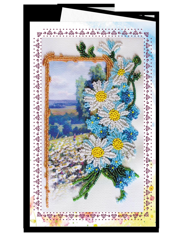 Оформить открытку бисером, днем