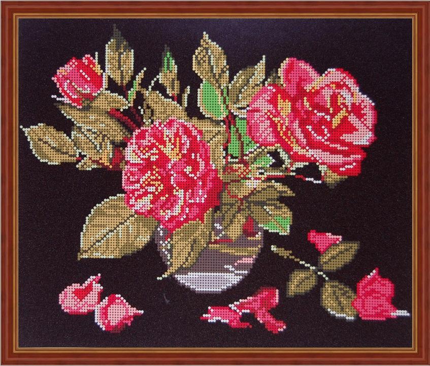 как вышить бисером красно черные розы фото что