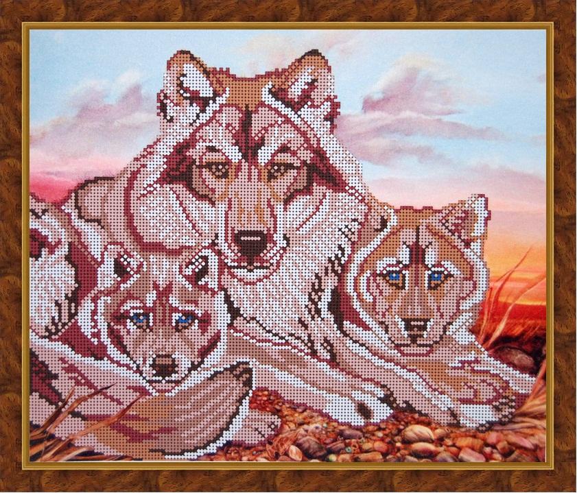 Схема для вышивки крестом волчата