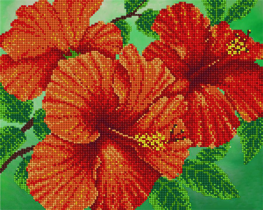 Рисунок цветок для вышивки бисером