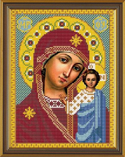Вышивка бисером богородица казанская