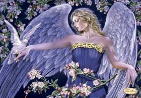 Схема вышивки бисером на атласе Ангел и голуби