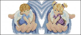 Схема вышивки бисером на габардине Ангелочки