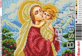 Схема вышивки бисером на габардине Мадонна с младенцем