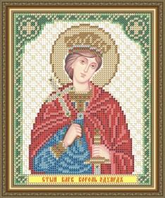 Схема вышивки бисером на габардине Св. Блгв. Король Английский Эдуард
