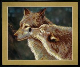Схемы для вышивания бисером на авторской канве Волки