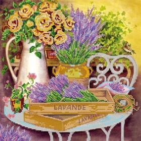 Схема вышивки бисером на холсте Цвет лаванды