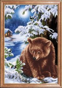 Схема вышивки бисером на габардине Медведь под елкой
