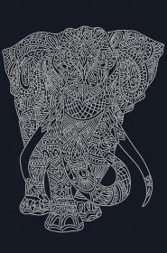 Схема вышивки бисером на атласе Слон (на чёрном)