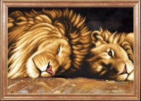 Схема вышивки бисером на габардине Львы отдыхают