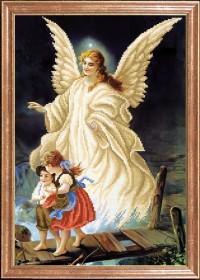 Схема вышивки бисером на габардине Ангел с детьми