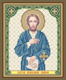 Схема вышивки бисером на габардине Св.Праведный Симеон Верхотурский
