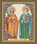 Схема вышивки бисером на габардине Св. Бессеребренники Косьма и Демиан
