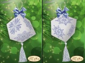 Подвеска - кубик для вышивки бисером Хрустальные снежинки, , 55.00грн., В-018, Tela Artis (Тэла Артис), Новый год