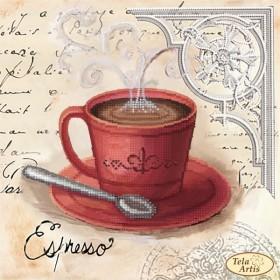 Схема вышивки бисером на атласе Кофе в Париже 3