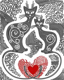 Схема вышивки бисером на атласе Узоры любви