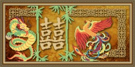 Схема вышивки бисером на габардине Двойное счастье, , 105.00грн., VKA3105, Art Solo, Схемы и наборы для вышивки бисером по Фен шуй