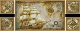 Набор для вышивки крестом Морское путешествие (Полиптих), , 495.00грн., СВ6584, Новая Слобода (Нова слобода), Картины из нескольких частей