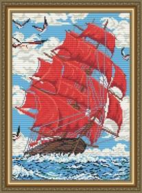 Набор для выкладки алмазной техникой Алые паруса, , 400.00грн., АТ3002, Art Solo, Алмазная мозаика