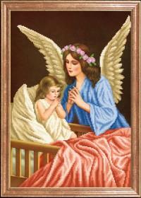 Схема вышивки бисером на габардине Ангел Хранитель