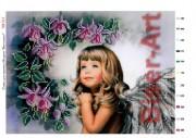 Схема вышивки бисером на габардине Дівчинка-ангел