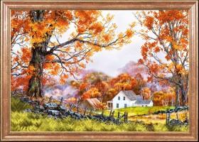 Схема вышивки бисером на габардине Деревенская осень