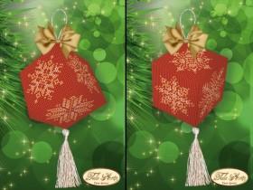 Подвеска - кубик для вышивки бисером Золотые снежинки, , 55.00грн., В-019, Tela Artis (Тэла Артис), Новый год