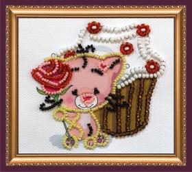 Набор - магнит для вышивки бисером Кекс и роза