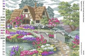 Схема для вышивки бисером на габардине Будиночок в саду