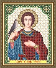 Схема вышивки бисером на габардине Св. Мученик Трифон