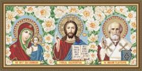 Схема вышивки бисером на габардине Триптих