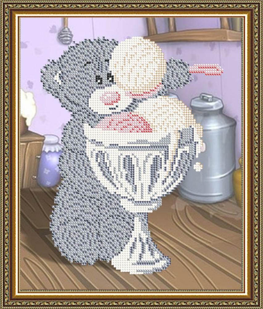 мишка с цветами схема вышивки