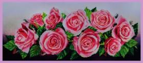 Набор для вышивки бисером а габардине Розовое настроение, , 630.00грн., Р-214, Картины бисером, Большие наборы