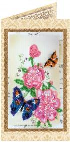 Набор - открытка для вышивки бисером Цветы и бабочки