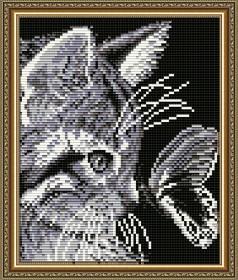 Набор для выкладки алмазной техникой Кот с бабочкой