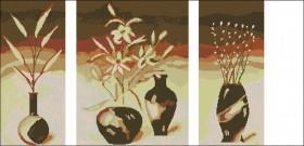 Схема вышивки бисером на атласе Триптих Цветы в вазе, , 175.00грн., ТС2-14, Эдельвейс, Картины из нескольких частей