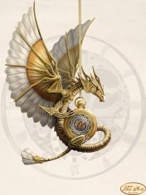 Схема вышивки бисером на атласе Стимпанк. Дракон