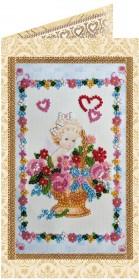 Набор - открытка для вышивки бисером Цветочки от ангела