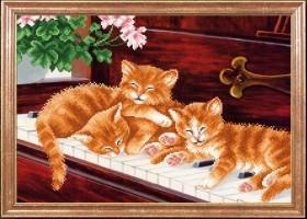 Схема вышивки бисером на габардине Котята на пианино