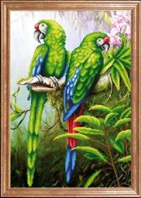 Схема вышивки бисером на габардине Пара попугаев