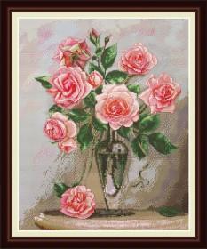 Набор для вышивки крестом Розы на мраморном столике