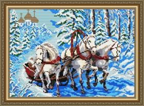 Набор для выкладки алмазной техникой Тройка лошадей, , 400.00грн., АТ3004, Art Solo, Алмазная мозаика
