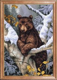 Схема вышивки бисером на габардине Медведь на дереве
