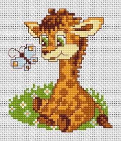 Набор для вышивки крестом Жираф и бабочка, , 27.00грн., В044, Luca-S, Детские наборы для вышивки бисером и крестом
